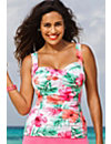Pink Hibiscus Twist Front Tankini Top by Swim Sexy