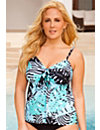 Mint Tribal Palm Palm Flared Tankini Top by Swim Sexy