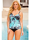 Mint Tribal Palm Flared Tankini by Swim Sexy