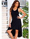 Black High/Low Racer Back Tank Dress by Swim & Sun