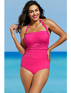 Rose Shirred Front Bandeau/Halter Swimsuit by Shore Club