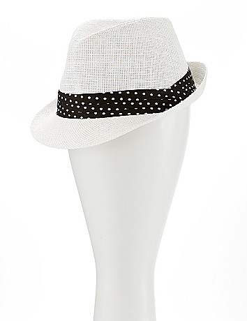 Straw fedora with polka dot band