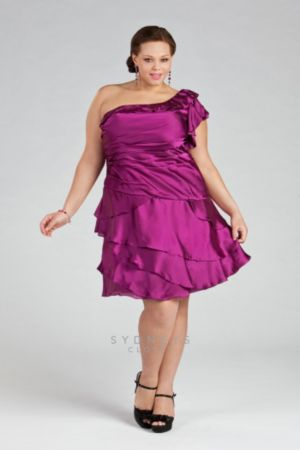 One-shoulder Cocktail Dress with Tiered Skirt