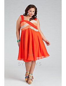 Party-ready Color-blocked Chiffon Cocktail Dress i by Sydney's Closet