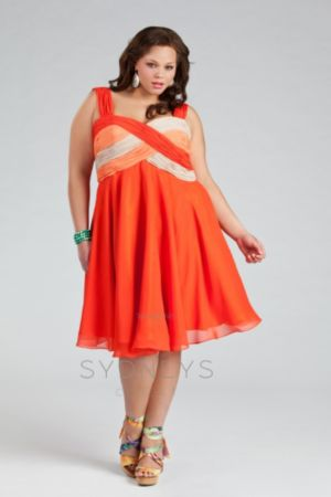 Party-ready Color-blocked Chiffon Cocktail Dress i