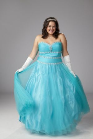Beaded and sequined plus size ballgown