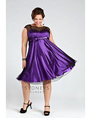 Party dress with sheer bodice and cap sleeves