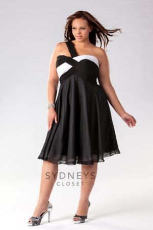 One-shoulder chiffon color-blocked cocktail dress