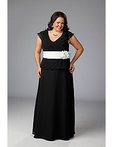 Mock 2-piece plus size formal dress by Sydney's Closet