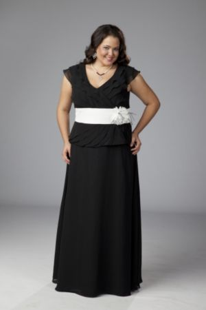 Mock 2-piece plus size formal dress