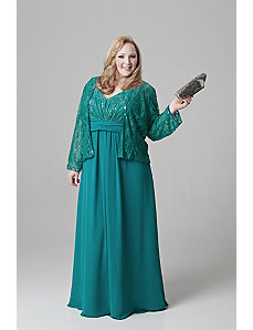 Plus size chiffon and lace empire waist jacket dre by Sydney's Closet