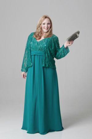 Chiffon and Lace Empire Waist Jacket Dress