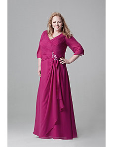 Beautiful Draped Chiffon Gown with Sleeves by Sydney's Closet