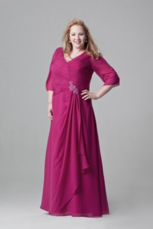 Beautiful draped chiffon gown with sleeves