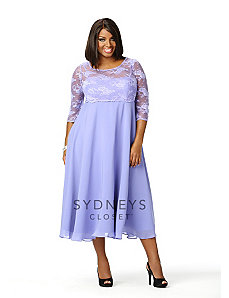 Tea-length Lace Dress with Sleeves by Sydney's Closet