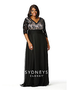 Lace Formal Gown with 3/4 Sleeves by Sydney's Closet