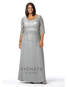 Chic Lace Evening Gown with Sleeves by Sydney's Closet