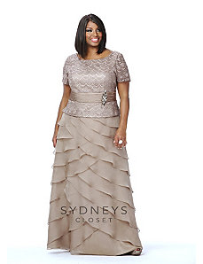 Crochet Lace Formal Gown with Sleeves by Sydney's Closet