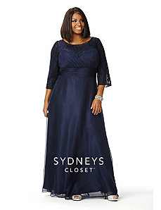 Elegant Formal Dress with 3/4 Sleeves by Sydney's Closet