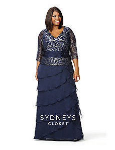 Elegant Long Chiffon Gown w Metallic Lace Bodice & Peplum by Sydney's Closet