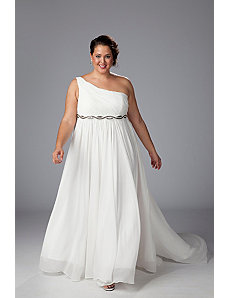 One-shoulder chiffon empire waist informal wedding by Sydney's Closet