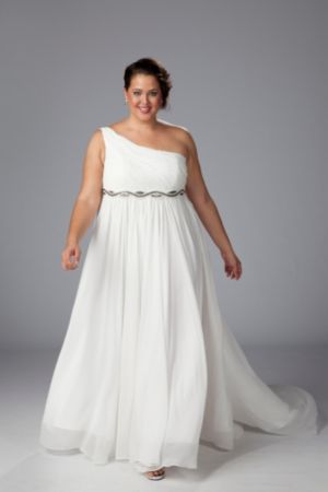 One-shoulder chiffon empire waist informal wedding