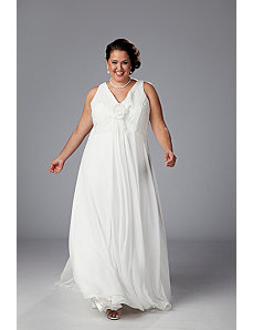 V-neck chiffon empire waist informal wedding gown by Sydney's Closet