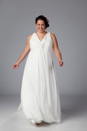 V-neck chiffon empire waist informal wedding gown