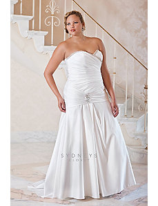 Plus size strapless fit and flare wedding gown in by Sydney's Closet
