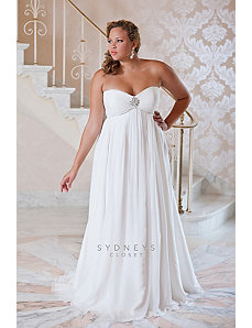 Plus size casual wedding dress sweep train by Sydney's Closet