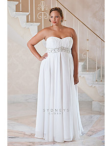 Plus size wedding dress with jeweled belt by Sydney's Closet