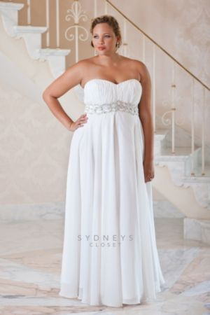 Plus size wedding dress with jeweled belt