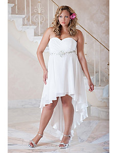Plus size chiffon high-low informal wedding gown w by Sydney's Closet