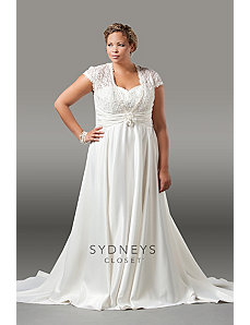 Lovely satin and lace formal wedding gown with cap by Sydney's Closet
