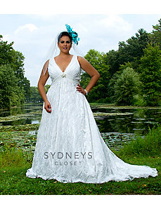 Long Formal Bridal Gown in Chiffon and Lace by Sydney's Closet