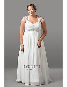 Romantic chiffon wedding dress with cap sleeves by Sydney's Closet