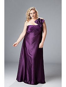 One-shoulder plus size satin formal by Sydney's Closet