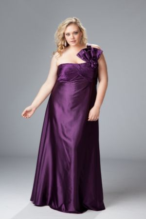 One-shoulder plus size satin formal