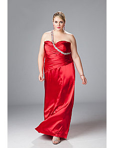 One-shoulder Satin Charmeuse A-line Gown by Sydney's Closet