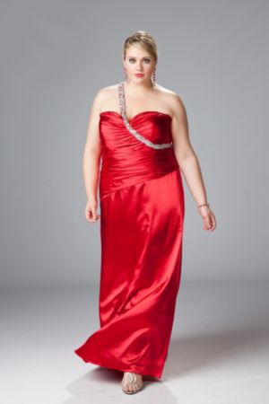 One-shoulder Satin Charmeuse A-line Gown