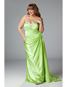 Satin charmeuse strapless gown with drop waist by Sydney's Closet