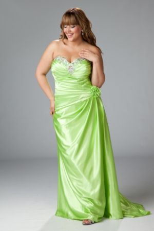 Satin charmeuse strapless gown with drop waist