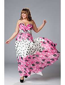 Strapless Chiffon Print Gown with A-line Skirt by Sydney's Closet