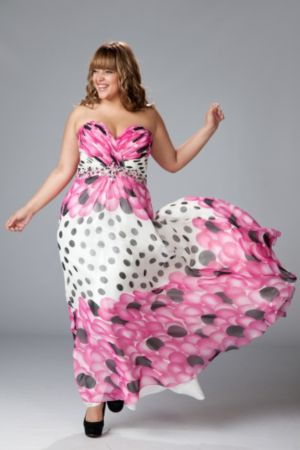 Strapless Chiffon Print Gown with A-line Skirt