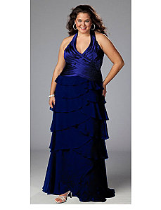 Glamorous Black Halter Plus Size Gown Dress by Sydney's Closet