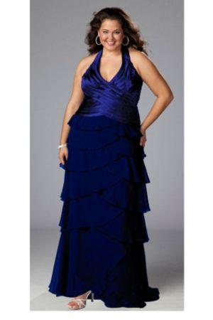 Glamorous Black Halter Plus Size Gown Dress