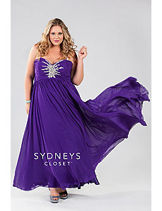 Chiffon gown with spaghetti straps and starburst by Sydney's Closet