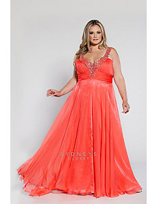 Long Chiffon V-Neck Gown with Sequined Straps by Sydney's Closet