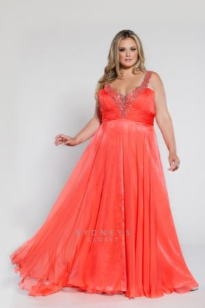 Long Chiffon V-Neck Gown with Sequined Straps