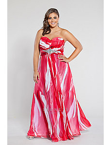 Red and white print strapless chiffon gown by Sydney's Closet